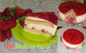Клубничный торт-суфле в мультиварке