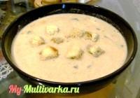 Сливочный крем-суп с грибами в мультиварке